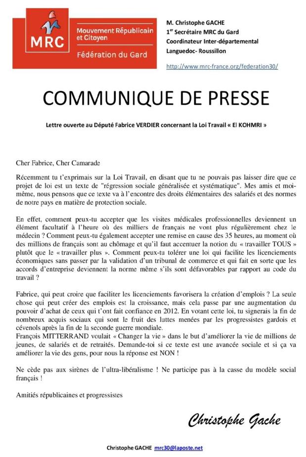 """Lettre ouverte à notre camarade le Député Fabrice VERDIER, NON à la loi Travail """"El KOHMRI"""""""