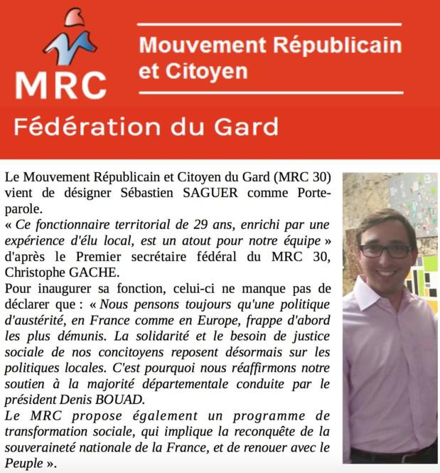 Sébastien SAGUER, Porte-Parole du MRC dans le Gard
