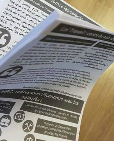 Journée de mobilisation contre la loi Travail dans le Gard... La distribution de tracts a commencé.