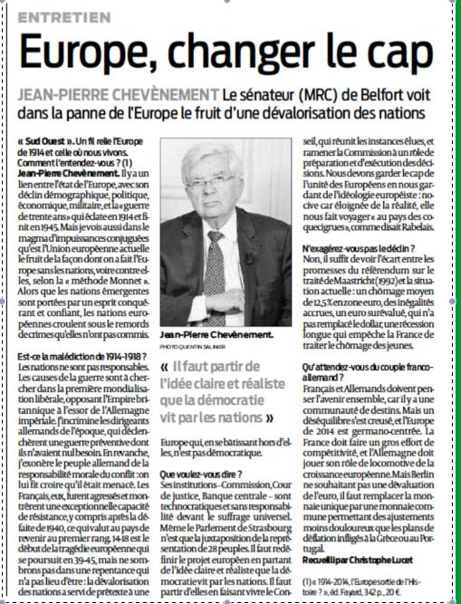 Entretien Journal Sud-Ouest Christophe Lucet