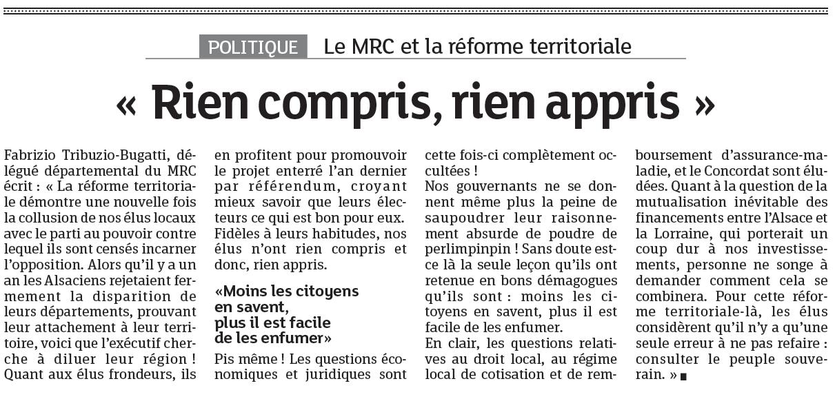 Parution du communiqué sur la réforme territoriale dans les DNA du 12/06/2014