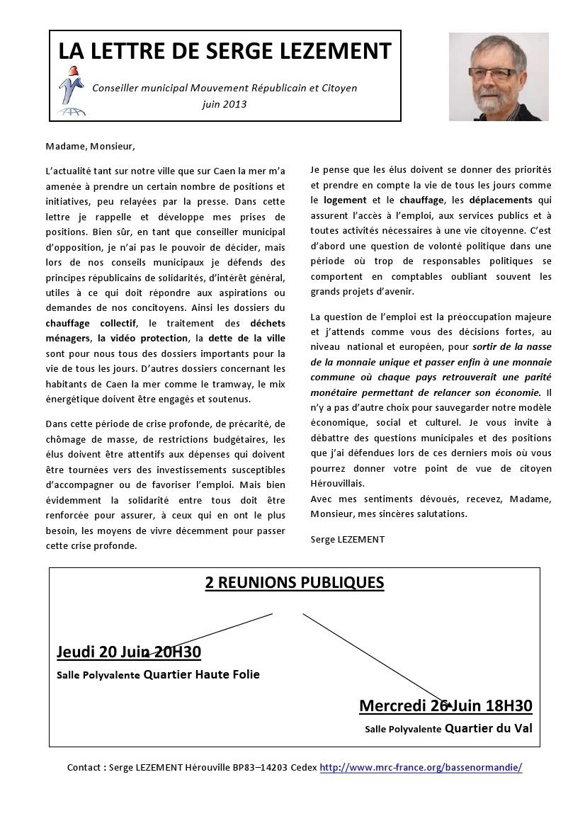 La lettre de Serge Lezement