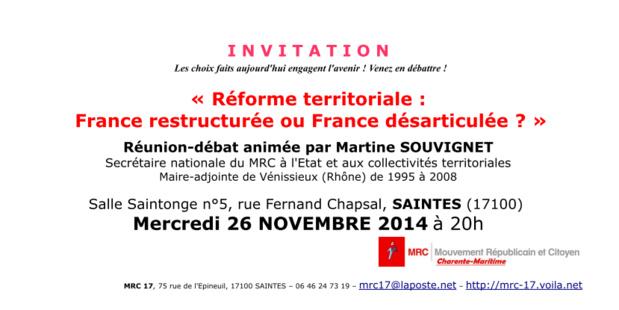 """Réunion-débat """"Réforme territoriale : France restructurée ou France désarticulée ?"""" - mercredi 26 novembre 2014 à Saintes"""