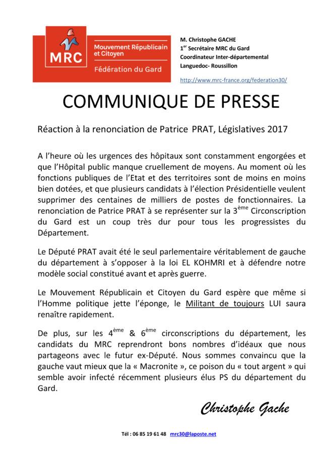 Réaction suite à la renonciation de Patrice PRAT, Législatives 2017