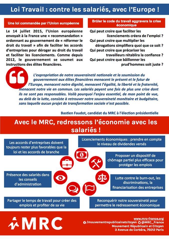 Loi EL KHOMRI: Le MRC 30 dit NON, NON, et NON (Manifestation du samedi 9 avril dans le Gard)