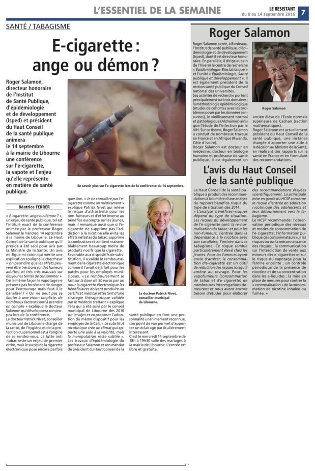 E-Cigarette:interview du Dr Patrick Nivet