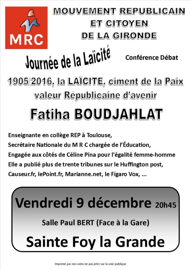 journée de la laïcité: Fatiha Boudjalhat le 9 décembre 2016 à 20 heures 45 salle Paul Bert à Sainte Foy la Grande