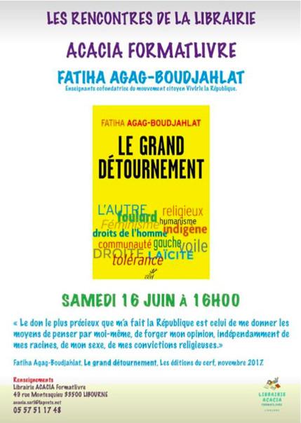 """présentation du livre """"le grand détournement"""" par Fatiha Boudjahlat"""