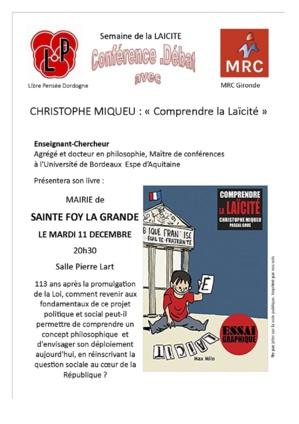 Journée de la Laïcité, la Libre Pensée de la Dordogne et le Mouvement Républicain et Citoyen de la Gironde