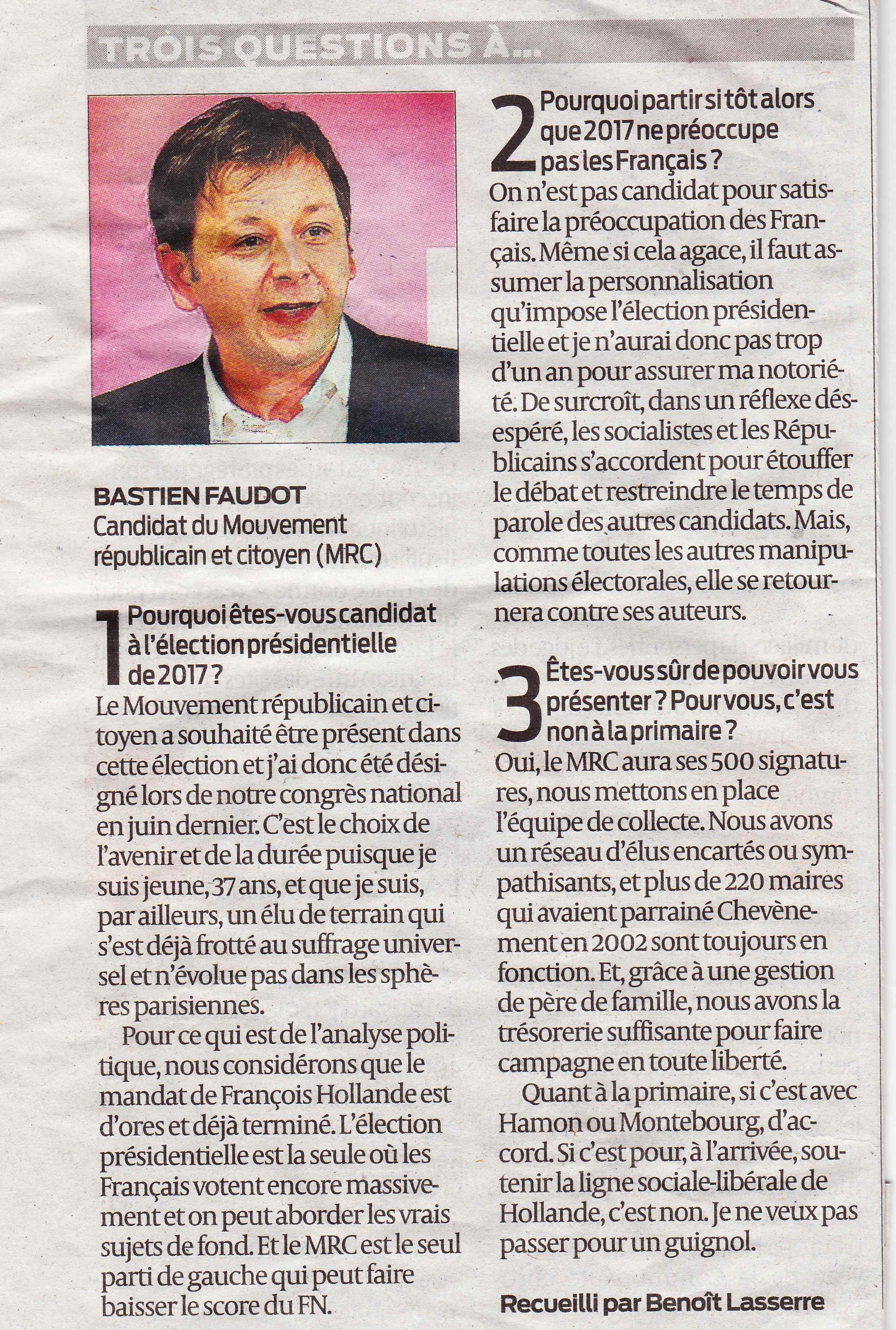 Interiew de Bastien Faudot par Benoît Lasserre journal Sud-Ouest du 4 avril 2016 page 3
