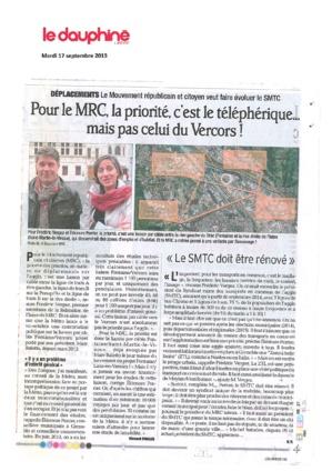 """""""Pour le MRC, la priorité , c'est le téléphérique.... mais pas celui du Vercors !"""""""