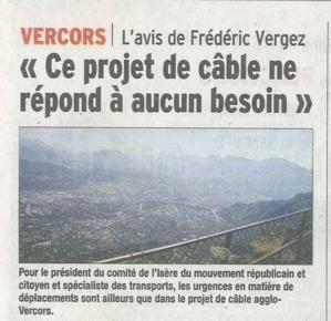 Bilan de la concertation du projet de transport par câble Fontaine-Vercors : ce n'est pas une priorité de notre agglomération!