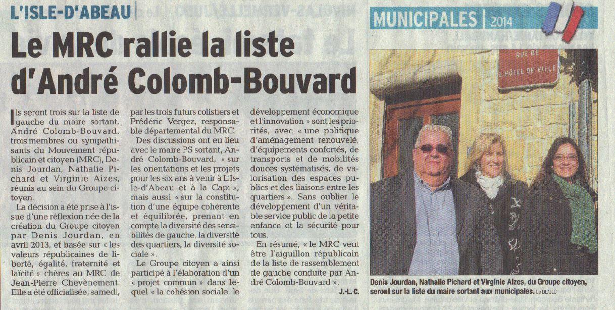 Le MRC rejoint la liste d'André Colomb-Bouvard