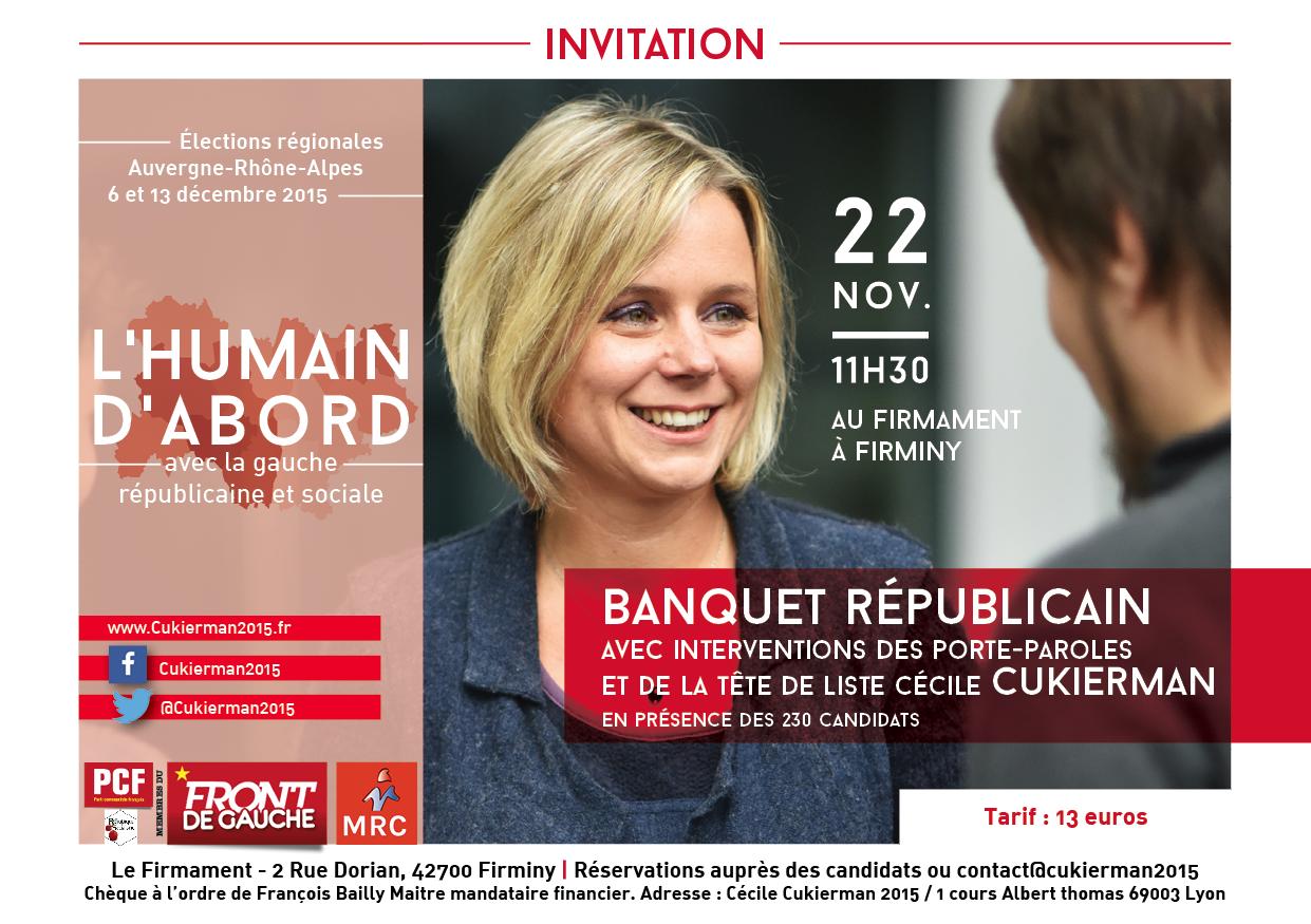 """Banquet républicain de la liste """"L'Humain d'abord. Avec la gauche républicaine et sociale"""" à Firminy le 22 novembre en présence de tous les candidats régionaux."""