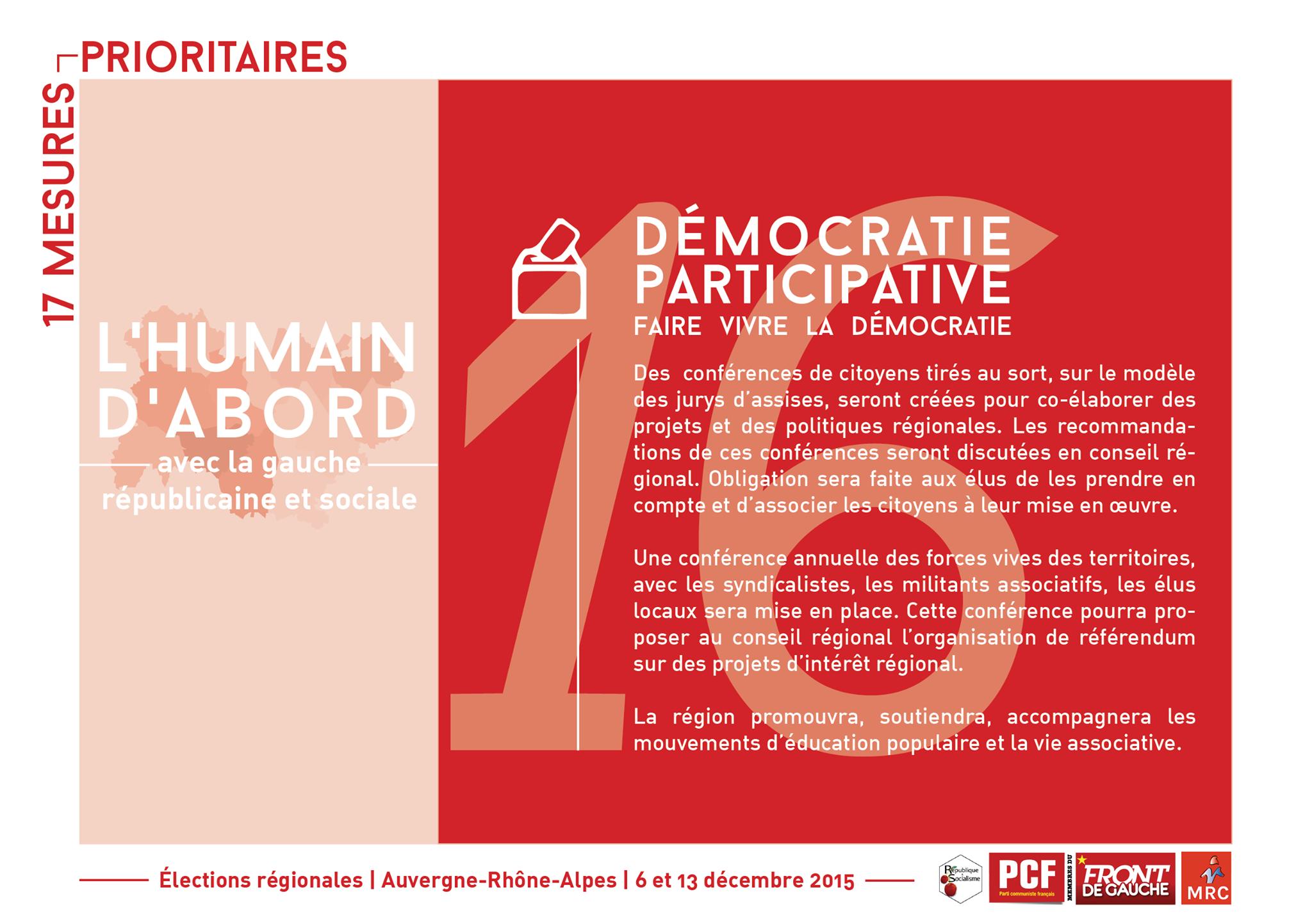 Quelques-unes de nos propositions pour une région citoyenne, solidaire et impliquée dans l'avenir des citoyens