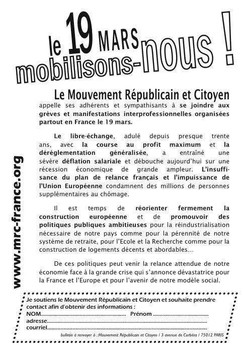 """Téléchargez et distribuez le tract : """"Le 19 mars, mobilisons-nous !"""""""