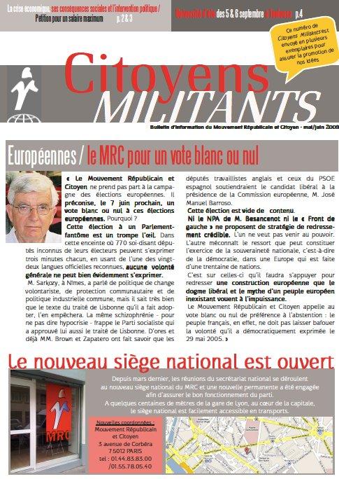 Citoyens Militants, mai-juin 2009