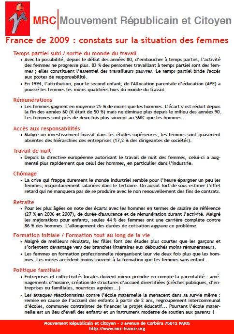 """Téléchargez et distribuez le tract : """"France de 2009 : constats sur la situation des femmes"""""""