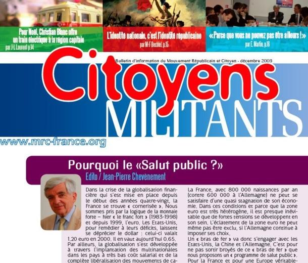 Téléchargez et distribuez le dernier numéro de Citoyens Militants