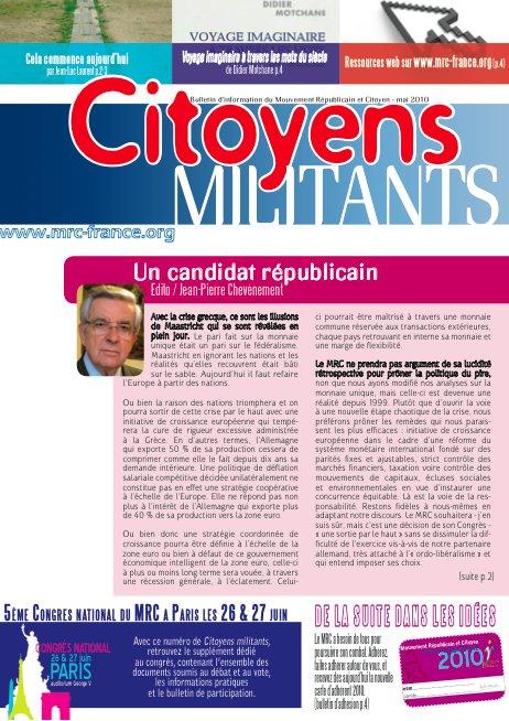 Téléchargez et distribuez le numéro de Citoyens Militants de mai 2010