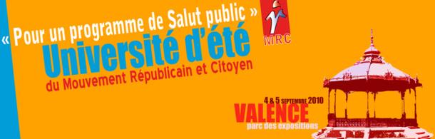 Université d'été du MRC de Valence les 4 et 5 septembre : Pour un programme de salut public