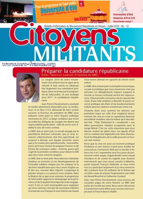 Téléchargez et distribuez le numéro de Citoyens Militants de juillet 2010