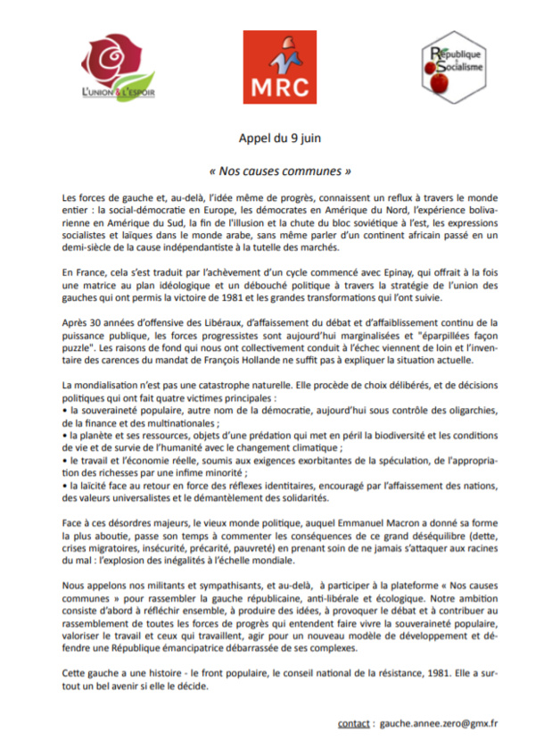 """Appel du 9 juin de nos """"causes communes""""."""