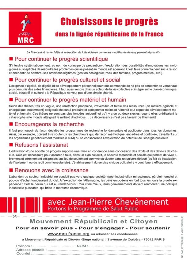 """Tract """"Choisissons le progrès dans la lignée républicaine de la France"""""""