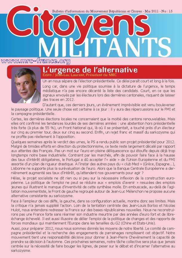 Téléchargez et distribuez le numéro de Citoyens Militants de mai 2011