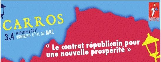 Université d'été du MRC de Carros les 3 et 4 septembre : Le contrat républicain pour une nouvelle prospérité