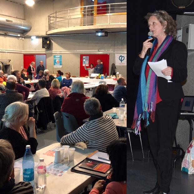 Réunion publique à Romans (26) avec Catherine Coutard candidate GRS aux élections européennes, sur le thème de la santé