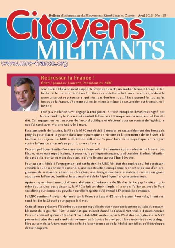 Téléchargez et distribuez le numéro de Citoyens Militants d'avril 2012