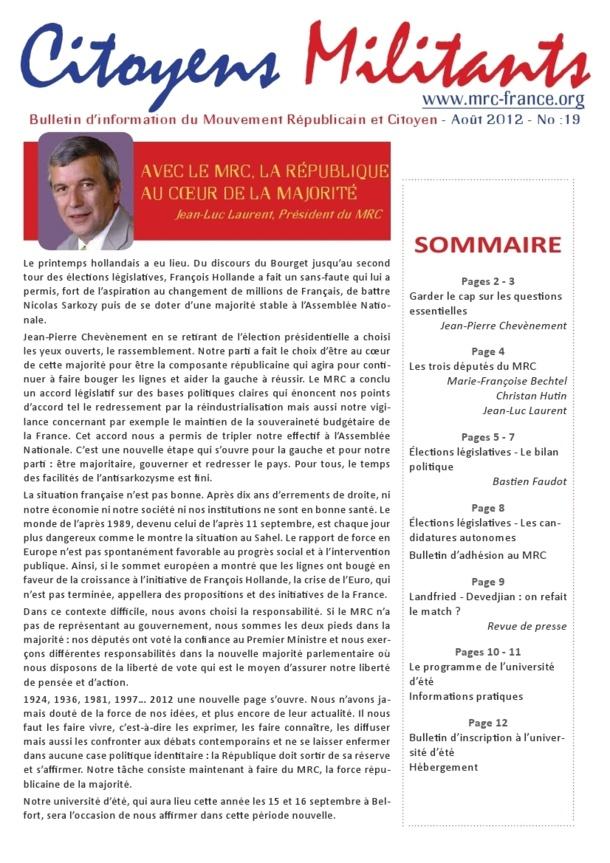 Téléchargez et distribuez le numéro de Citoyens Militants d'août 2012