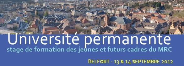 Stage de formation jeunes et futurs cadres du MRC (13 et 14 septembre 2012)