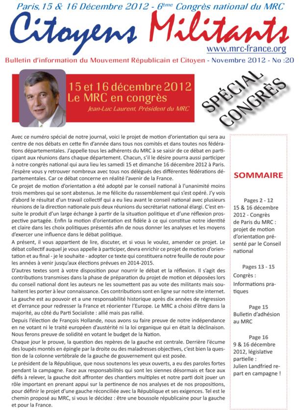 Téléchargez et distribuez le numéro de Citoyens Militants de novembre 2012 consacré au congrès de Paris