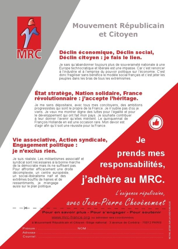 """Tract """"Je prends mes responsabilités, j'adhère au MRC"""""""
