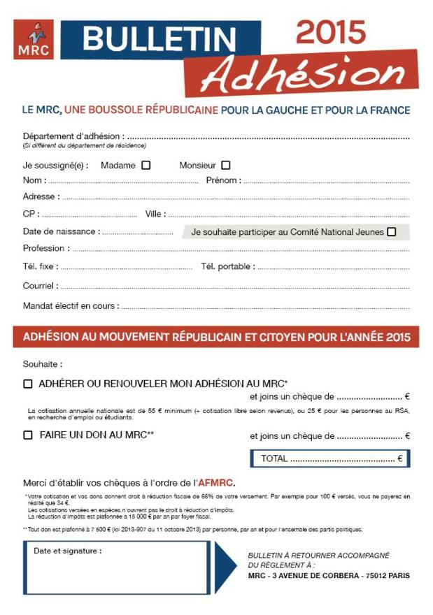 Bulletin d'adhésion au MRC (2015)