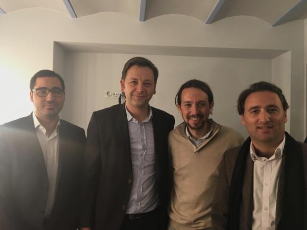 Bastien Faudot, Ladislas Polski et David Bouderballa avec Pablo Iglesias à Murcie, le 18 décembre