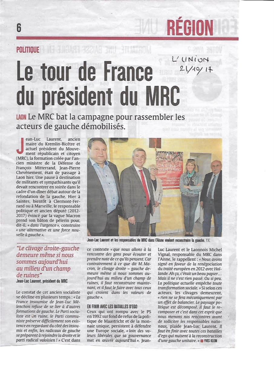 Le MRC engage un tour de France de rencontres avec ses adhérents.