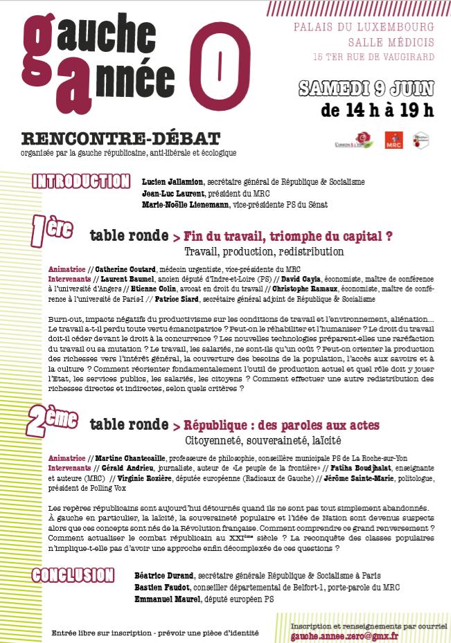 """Samedi 9 juin : Initiative commune """"Gauche, année zéro"""""""