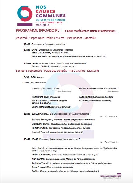 """Programme de l'Université de rentrée """"Nos Causes Communes"""""""