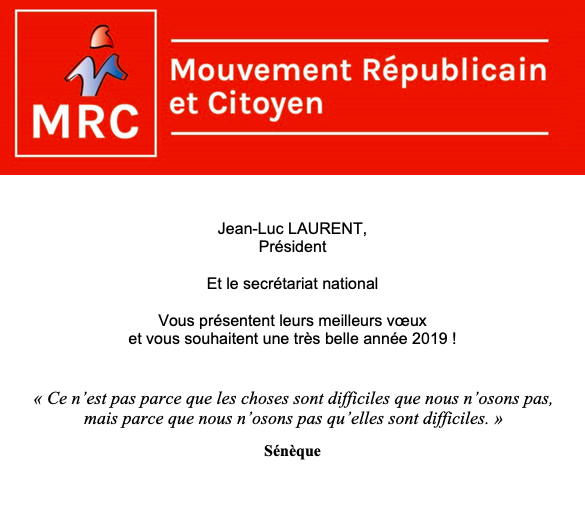 Voeux pour l'année 2019 du Président et du secrétariat national du MRC